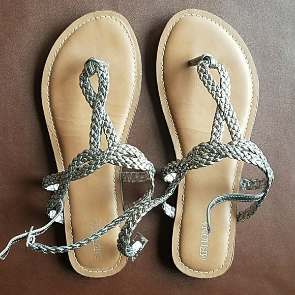 c97d742826fdda Merona Silver Braided Sandals. M 5aca5f198df470f34da1008a
